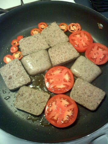 Scrapple with Tomatoes and Jalapenos
