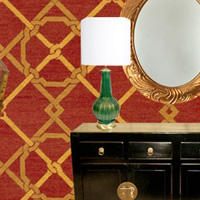 Red and Gold Geometric Needlepoint Rug Room Scheme