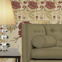 Green and Red Needlepoint Rug Room Scheme