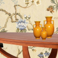 Blue and Gold Floral Needlepoint Rug Room Scheme