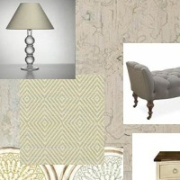 Cream and Blue with Green Oushak Rug Room Scheme
