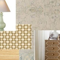 Cream and Blue with Gold Bedroom Rug Room Scheme