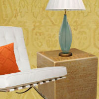 Yellow and Coral Oriental Rug Room Scheme