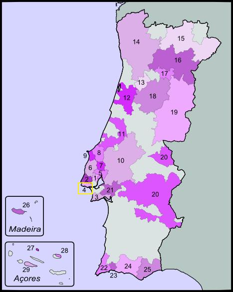 Portuguese wine map highlight Carcavelos