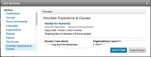 Screenshot of LinkedIn Experiences and Causes Section