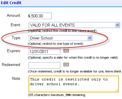 Restrict a future credit to a specific event type, limiting when it can be redeemed