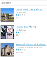 Updated hotel lists includes thumbnails, ratings and prices