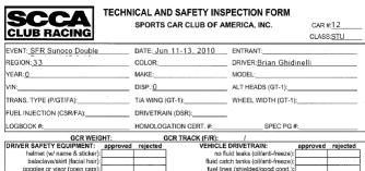 SCCA Full Page Tech Form