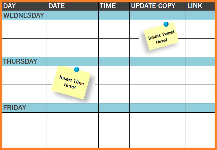 International Free Template Social Media Publishing Schedule - Social media schedule template