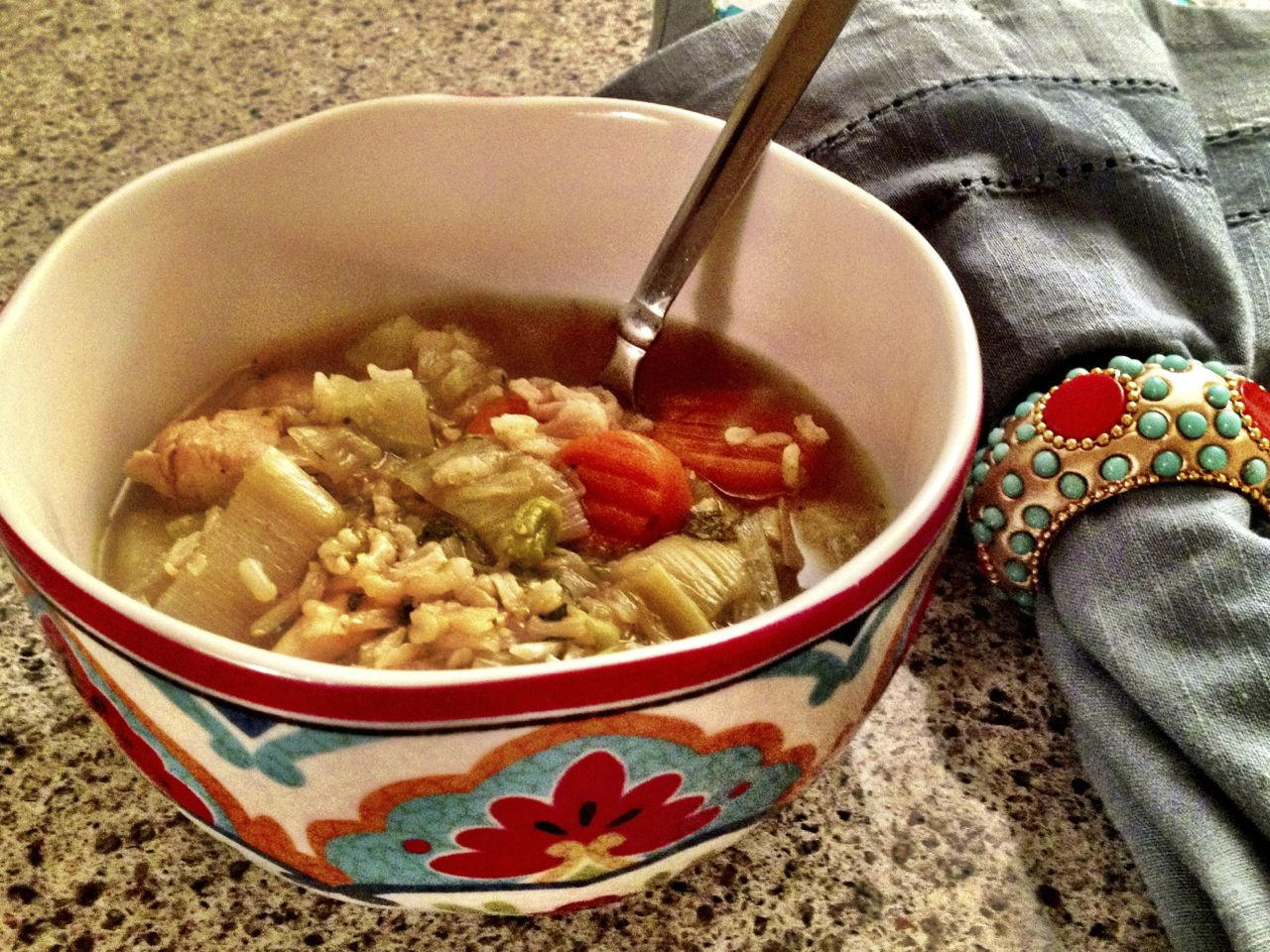 Chicken-rice-vegetable-soup